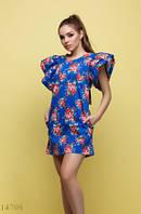 Женское короткое платье Хонори синий фон розовые цветы