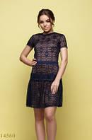 Женское гипюровое платье Поль темный синий