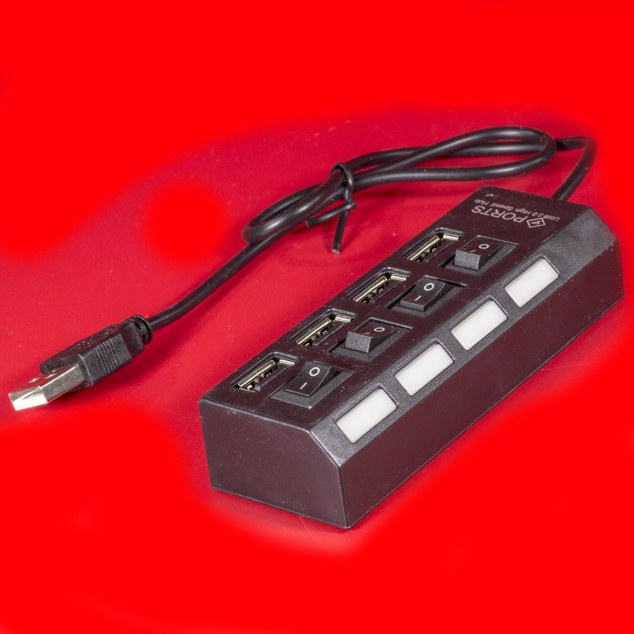 Разветвитель Lesko A035 Черный USB Hub много портов универсальный быстрый прочный компактный функциональный