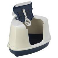Угловой закрытый туалет для кошек Moderna Flip Cat кобальт-синий, 56*45*39см