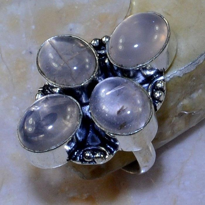 Кварц кольцо с натуральным розовым кварцем в серебре. Размер 17,5. Индия