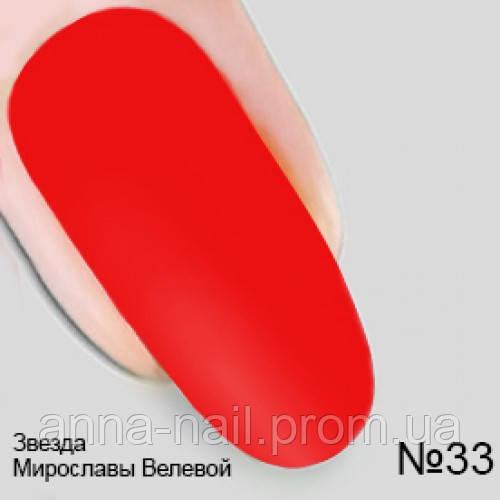 Гель лак №33 Звезда Мирославы Велевой коллекция Опиум Nika Nagel, 10 мл