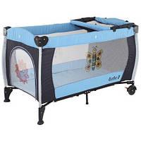 Манеж-кровать Quatro Lulu 1 с пеленатором голубой - черный, фото 1