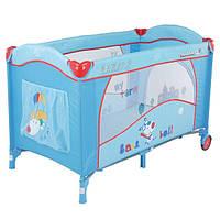 Манеж-кровать Quatro Lulu 2 с пеленатором и дугой p610sr №3 голубой-красный