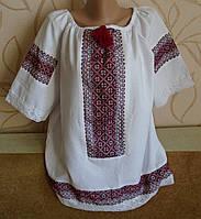 Вишиванка на білому, домоткане полотно,  48 розміру, вишита  ручна робота короткий рукав