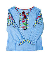 Блуза девчачья голубая Модерн (Детские вышиванки)
