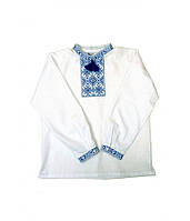 Рубашка мальчиковая белая Модерн (с синей вышивкой) (Детские вышиванки)
