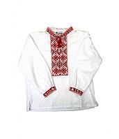 Рубашка мальчиковая белая Модерн (с красной вышивкой) (Детские вышиванки)
