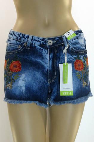 женские джинсовые шорты cвышивкой Zifht, фото 2