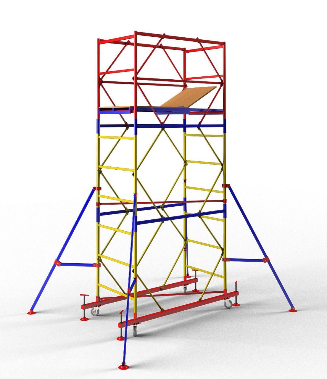 Вышка-тура мобильная облегченная 1,7 x 0,8 м (4+1) Раб.высота 7,2 м