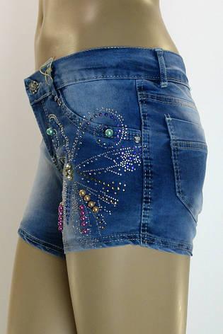 женские джинсовые шорты c бисером,камнями Ayaa, фото 2