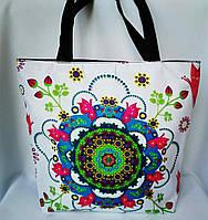 Пляжная текстильная летняя сумка для пляжа и прогулок Цветы белого цвета