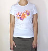 Футболка женская цветы оранжевые, 100% хлопок р.44