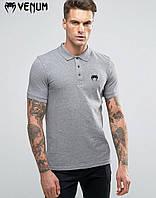 Мужские футболки поло Venum  футболка серая поло  Размеры : S, M, L, XL, XXL