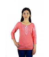 Вишита оранжева жіноча сорочка. Вишиті футболки. Сучасні вишиванки. Жіночі вишиванки.