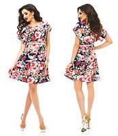 Женское модное платье с поясом цвета  :  как на фото ТУ326