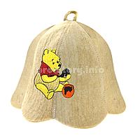 """Детские шапки для бани и сауны из светлого войлока с вышивкой """"Винни-Пух"""""""