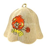 """Детские шапки для бани и сауны из светлого войлока с вышивкой """"Львёнок"""""""