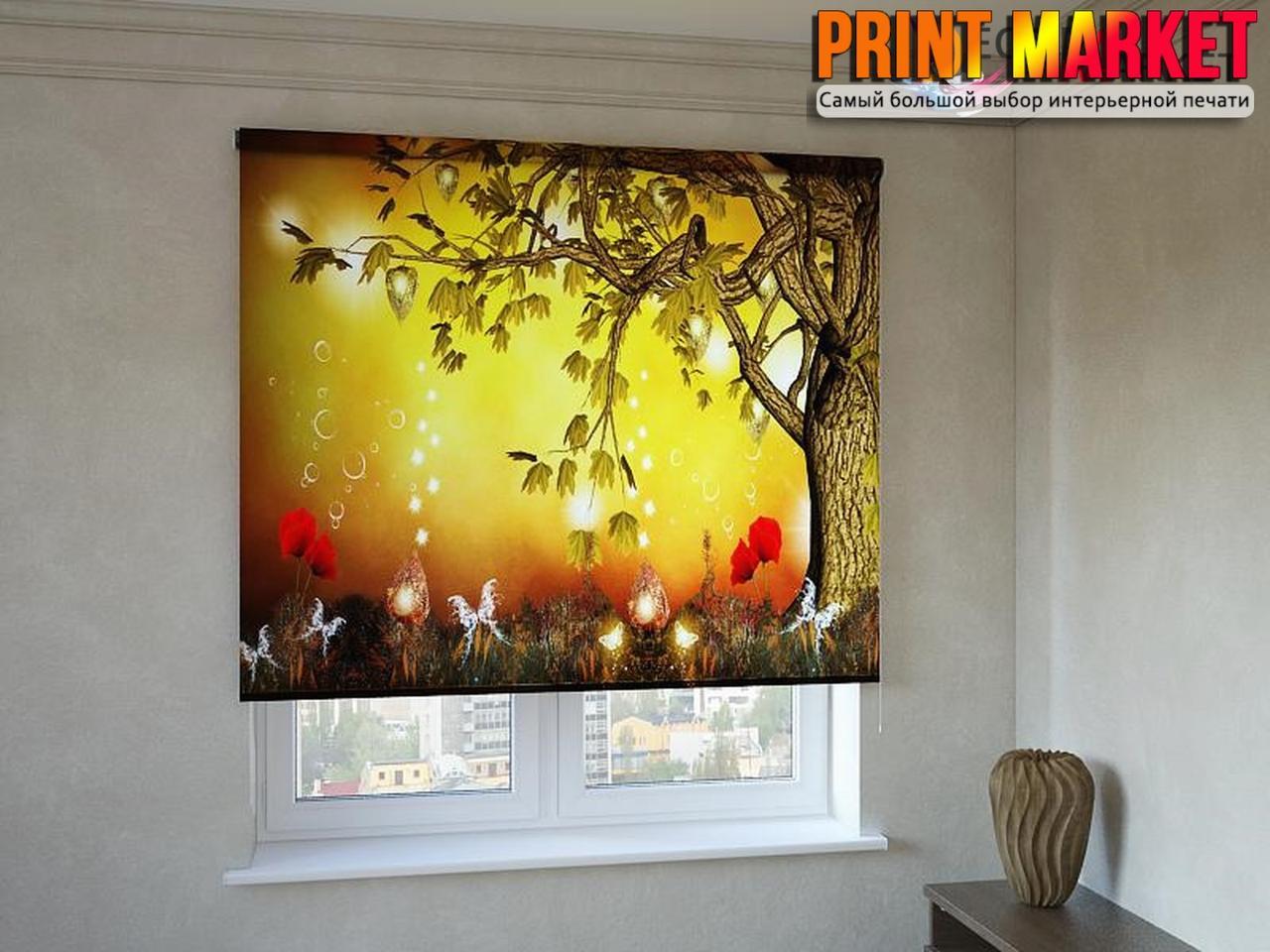 Рулонные шторы с фотопечатью сказочное дерево