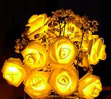 Светодиодная гирлянда Желтые Розы 2м 20LED на батарейках АА, фото 3