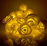 Светодиодная гирлянда Желтые Розы 2м 20LED на батарейках АА, фото 4