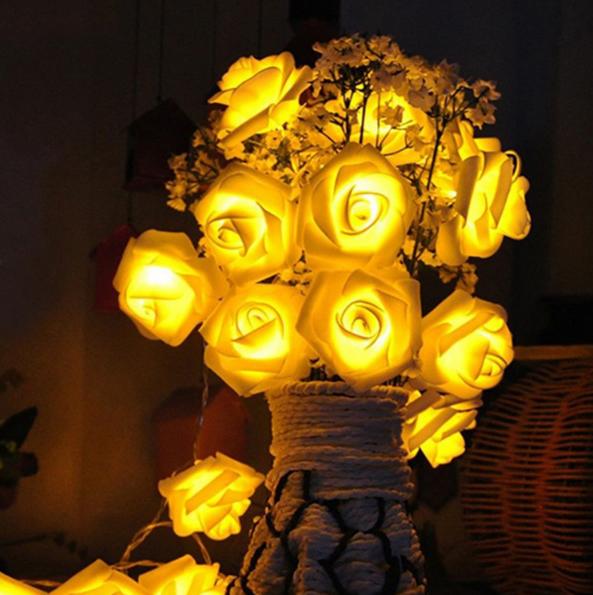 Светодиодная гирлянда Желтые Розы 2м 20LED на батарейках АА