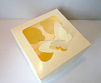 """Картонная коробка для капкейков на 4 шт с прозрачным окном """"Эконом бабочки белые"""""""