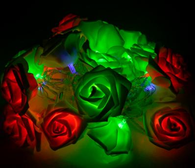 Світлодіодна гірлянда Різнокольорові Троянди 2м 20LED 220В RGB