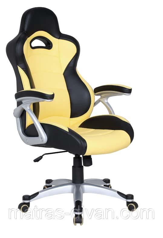 Кресло Форсаж №1 (1712) к/з PU черный/желтые вставки.