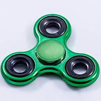 Спиннер Tri Fidget (Зелено-черный металлик) Игрушка антистресс