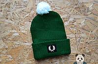 Мужская модная шапка фред пери,Fred Perry зеленая с бубоном