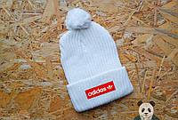 Модная белая шапка адидас,Adidas с бубоном