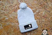 Стильная белая шапка carhartt с бубоном