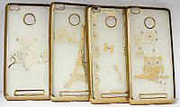 Чехол силиконовый рисунок с камнями iPhone 4