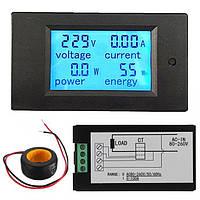 Универсальный измеритель параметров переменного тока 80-260V до 100А с дисплеем и датчиком тока