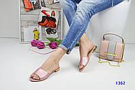 Женские яркие оригинальные шлепки на квадратном каблуке,цвет-пудра