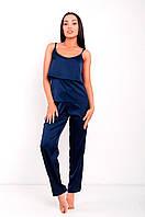 Пижама женская шелковая Агата синяя