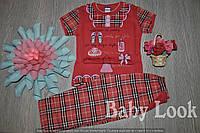 Пижама для девочки в клеточку (футболка и штаны)