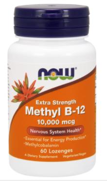 Метилкобаламін, Метил-12, Now Foods, Methyl B-12, 10,000 mcg, 60 Lozenges