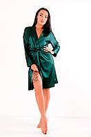 Атласный халат с поясом Грейс зеленый