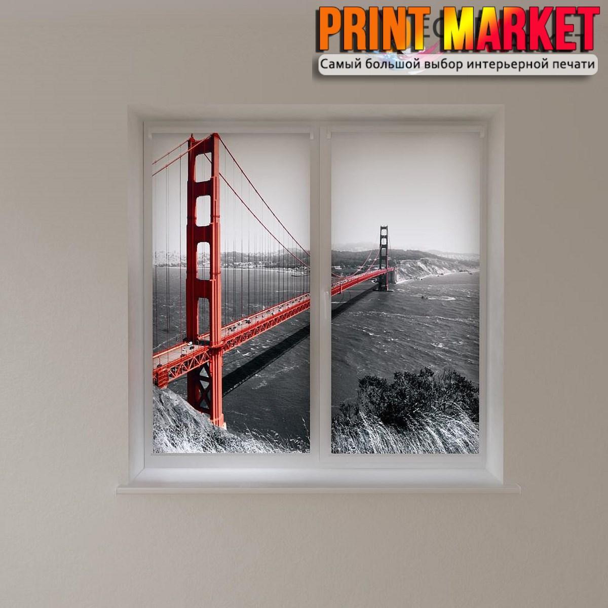 Рулонные шторы с фотопечатью красный мост