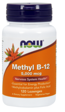 Метилкобаламін, Метил-12, Now Foods, Methyl B-12, 5,000 mcg, 120 Lozenges