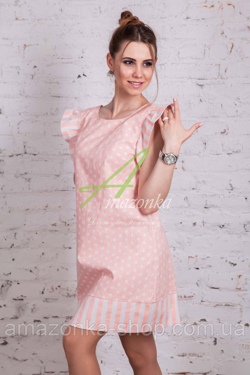 Женское летнее платье в горошек 2018 от производителя - Код пл-227