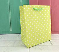 """Бумажные подарочные пакеты """" Цветной горошек """" XS ( упаковка 12 шт)"""