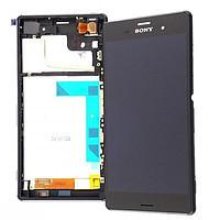 Дисплей для Sony D6603 Xperia Z3/D6643 + touchscreen. черный. с передней панелью. оригинал (Китай)