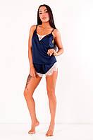 Шелковая пижама с шортами Инесса синяя+белое кружево