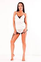 Шелковая пижама с шортами Инесса белая+черное кружево