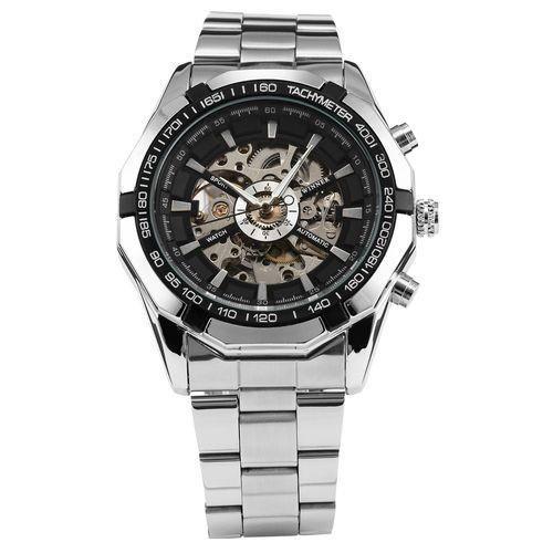Водонепроницаемые часы скелетоны Winner TM340 Silver (металлический ремешок)