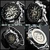 Водонепроницаемые часы скелетоны Winner TM340 Silver (металлический ремешок), фото 3