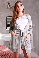 Домашний халатик из трикотажа Грация светло-серый